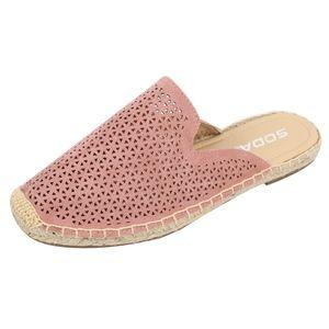 Shoes - Mauve Perforated Crochet Slip On Flat Sandal